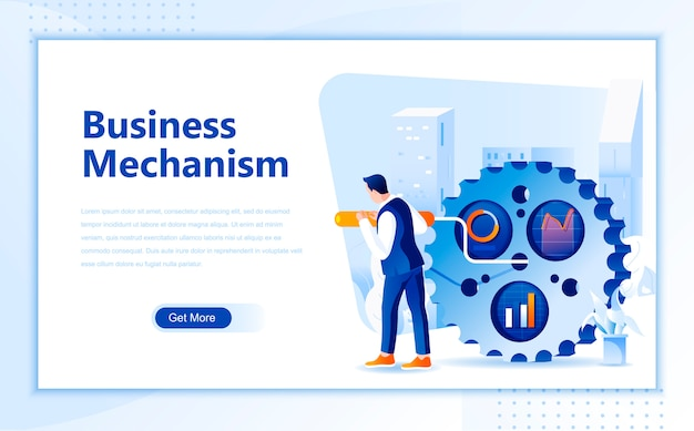 Business mechanism flat landing page template of homepage