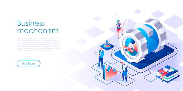 Business mechanism isometric landing page template