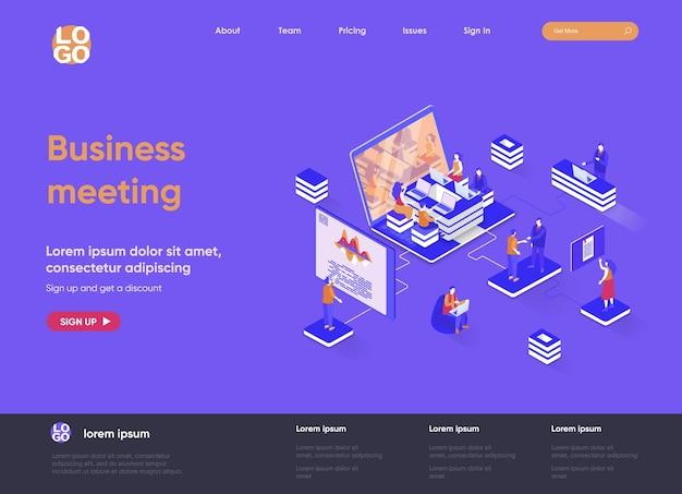 Деловая встреча 3d изометрическая иллюстрация веб-сайта целевой страницы с персонажами людей