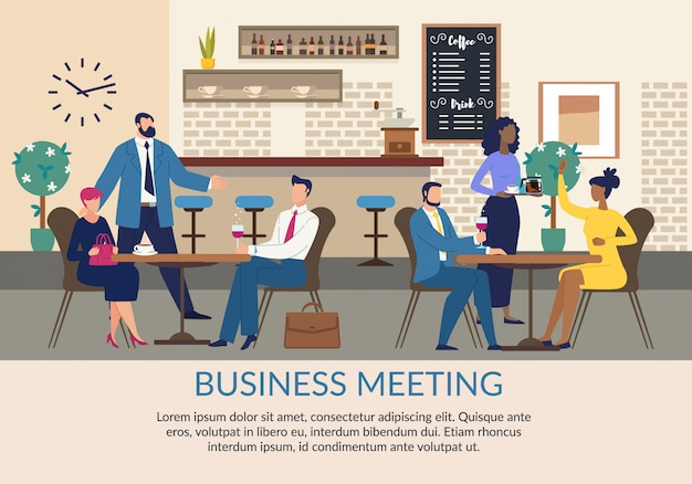 Business meeting advertising flat poster with text