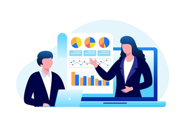 Деловая встреча аналитик финансовая концепция плоская векторная иллюстрация для баннера и целевой страницы