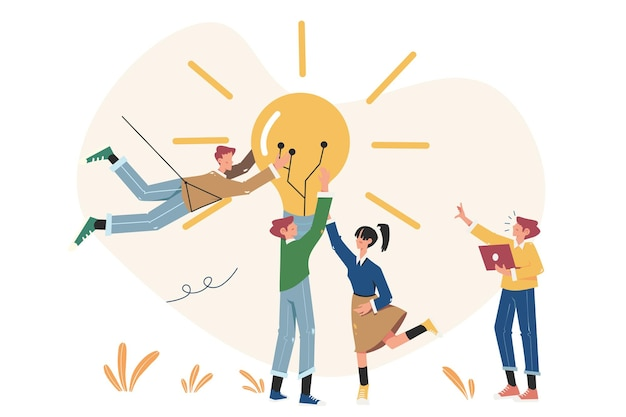 새로운 솔루션을 찾기위한 비즈니스 회의 및 브레인 스토밍