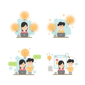 ビジネスミーティングとブレーンストーミング。チームワークのアイデアとビジネスコンセプト。