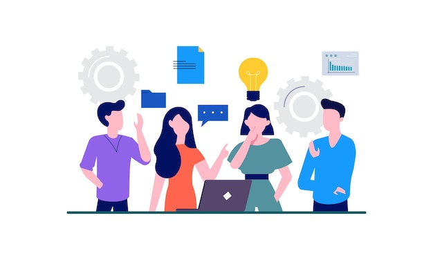 チームワークのイラストとビジネスミーティングとディスカッション。ビジネスマンと女性は成功のための目標のアイデアと話します。