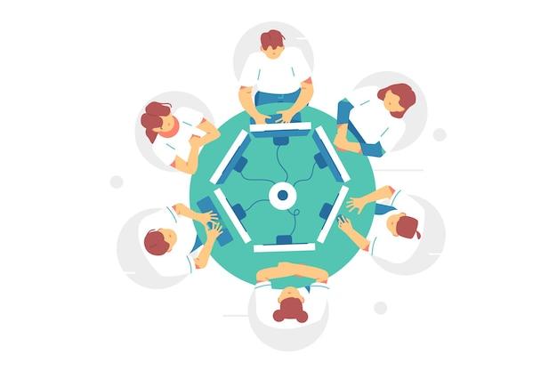 Деловая встреча за круглым столом иллюстрации. клерки сидят за круглым столом и обсуждают идеи или проводят мозговой штурм в плоском стиле. официальные переговоры, конференция.