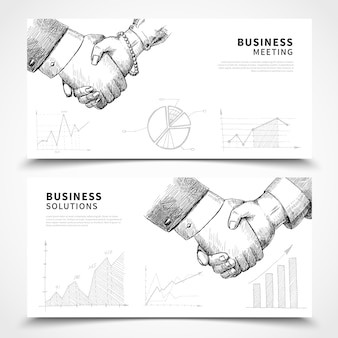 Business meeting banner set