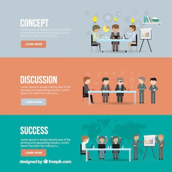 Business meeting banners Free Vector