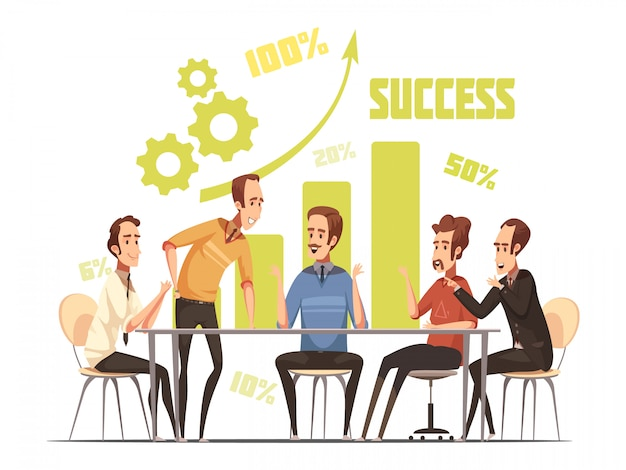 Business meeting composition with success and ideas symbols cartoon vector illustration