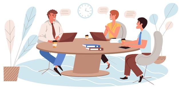 평면 디자인의 비즈니스 회의 개념입니다. 직원들은 작업에 대해 이야기하고 토론하고, 테이블에 앉아, 브레인스토밍 및 성공적인 팀워크를 수행합니다. 동료들은 사무실 사람들 장면에서 의사 소통합니다. 벡터 일러스트 레이 션