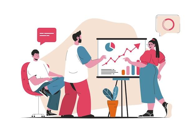 비즈니스 회의 개념이 격리되었습니다. 보고서 발표 및 전략 논의. 평면 만화 디자인의 사람들 장면. 블로깅, 웹 사이트, 모바일 앱, 판촉 자료에 대한 벡터 일러스트 레이 션.