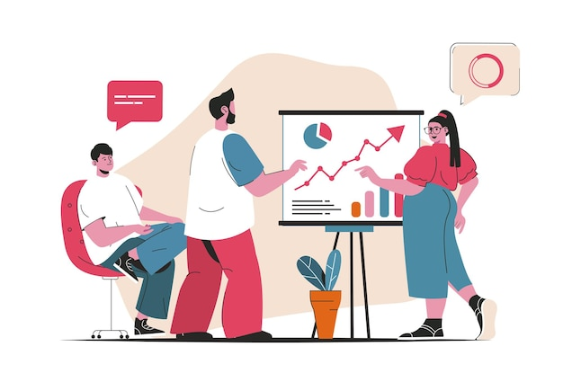 Business meeting concept isolated. presentation of report and discussion of strategy. people scene in flat cartoon design. vector illustration for blogging, website, mobile app, promotional materials.