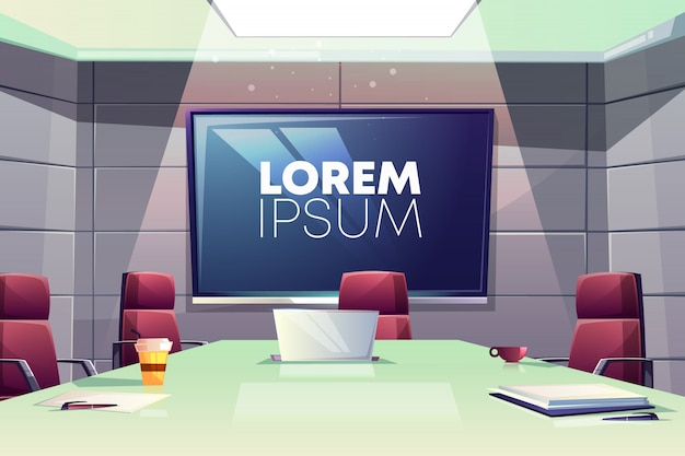 Business meeting or conference room interior cartoon illustration with comfortable armchairs