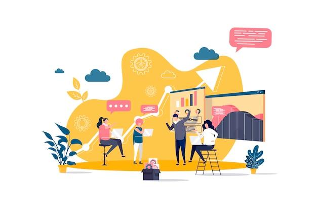 Плоская концепция деловой встречи с иллюстрацией персонажей людей