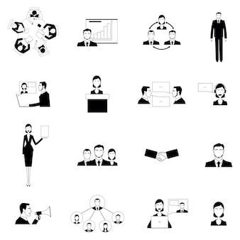 Business meeting flat icons set