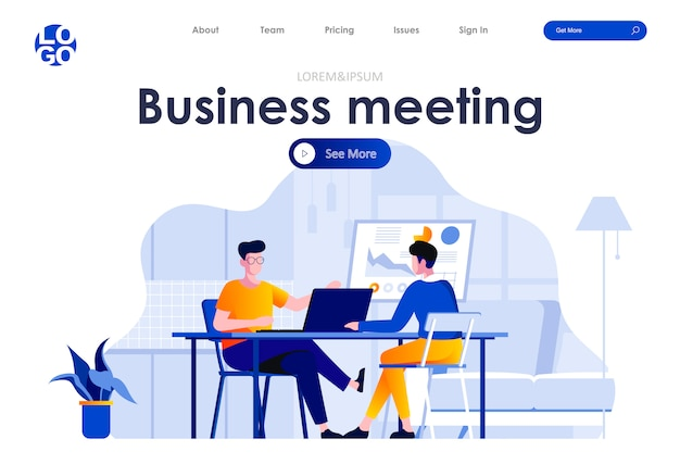 Business meeting flat landing page design web template