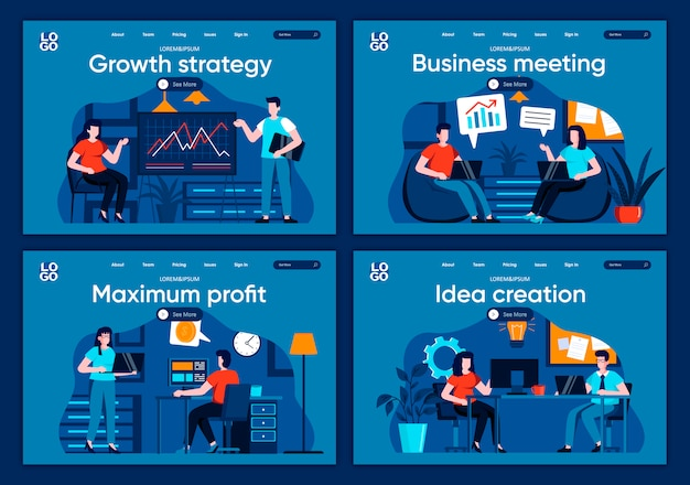 Business meeting flat landing pages set. manager making presentation, teamwork of colleagues scenes for website or cms web page. growth strategy, maximum profit, idea creation illustration.