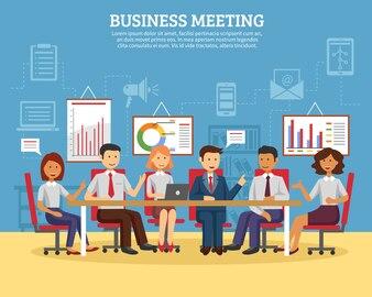 ビジネス会議フラット