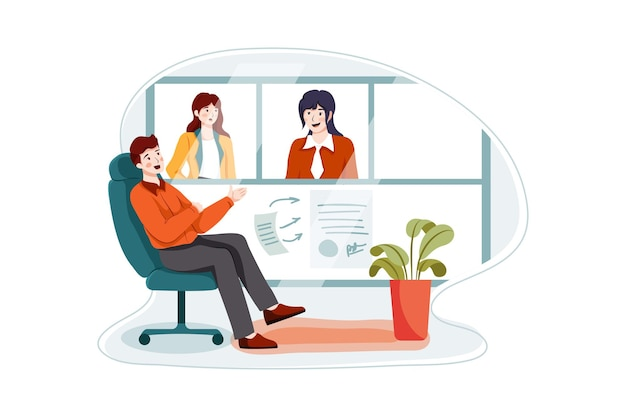 Концепция иллюстрации деловой встречи