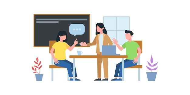 비즈니스 회의 그림입니다. 그룹워크 미팅 코스. 비즈니스 팀과 온라인으로 전화 회의를 하는 남자