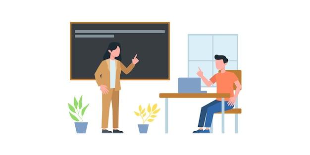 비즈니스 회의 그림입니다. 강의 수업 과정. 비즈니스 팀과 온라인으로 전화 회의를 하는 남자