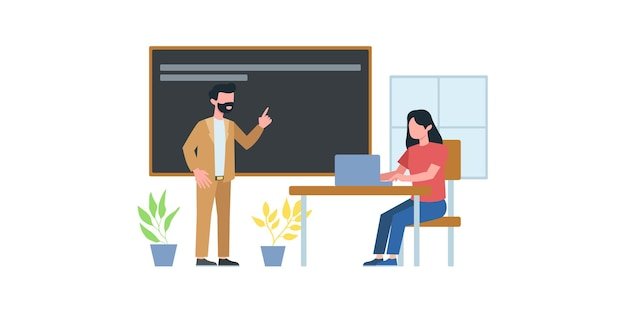 Business meeting illustration. lecturing class course. man having a conference call with his business team online