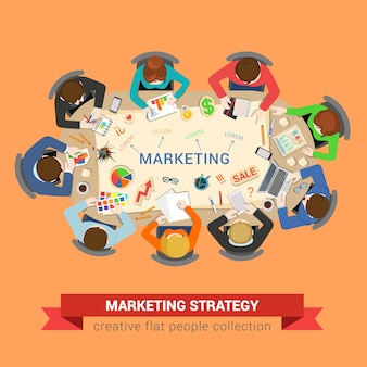 Illustrazione di riunione d'affari, marketing