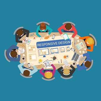 Иллюстрация деловой встречи, адаптивный дизайн
