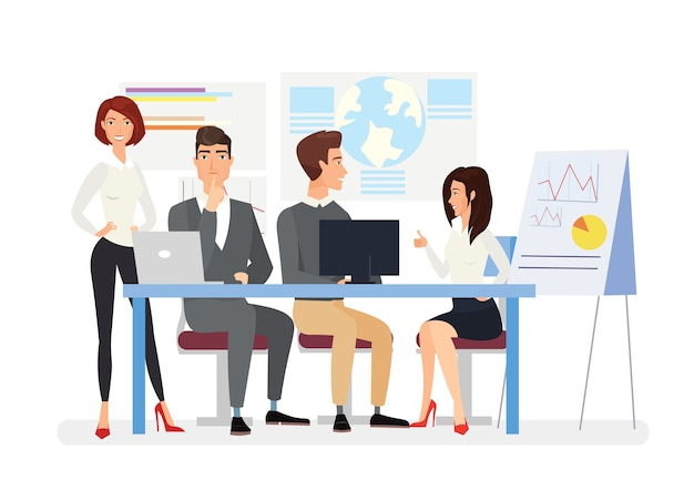 Business meeting   illustration top managers discussing business plan project presentation