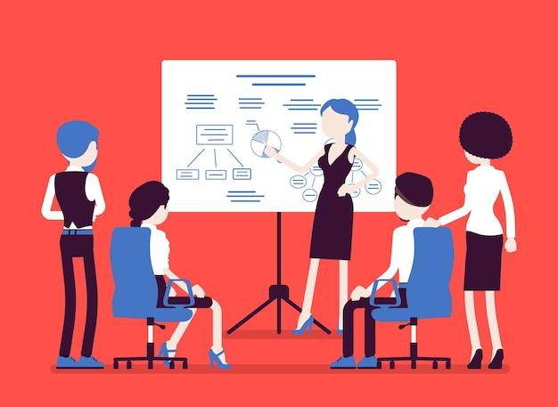 Деловая встреча в офисе. сбор менеджеров для обдумывания маркетинговых идей, целей, получение партнерами компании финансового отчета, взаимное обсуждение и обучение. векторная иллюстрация, безликие персонажи