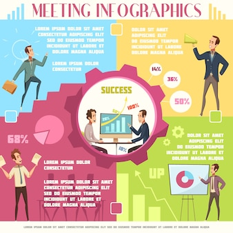 Business meeting infographic set with work and success symbols cartoon vector illustration