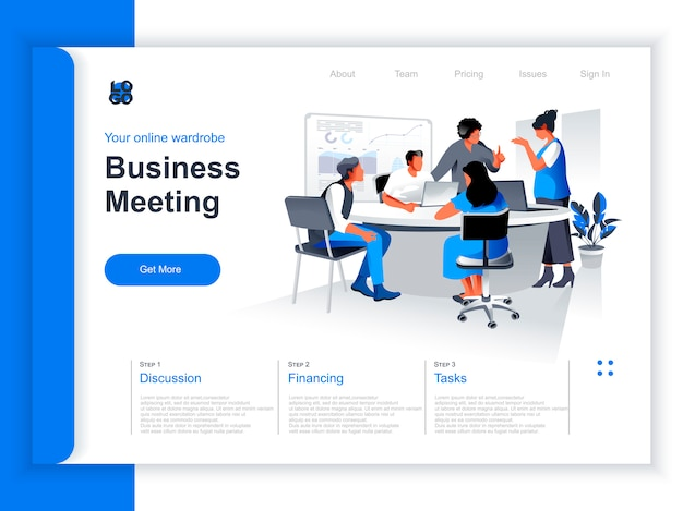 Business meeting isometric landing page. team of colleagues discussing project in conference room situation. productive corporate teamwork, data analyzing and strategy planning perspective flat design