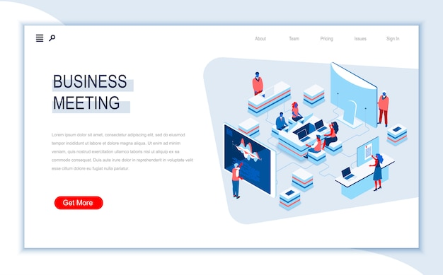 Business meeting isometric landing page template.