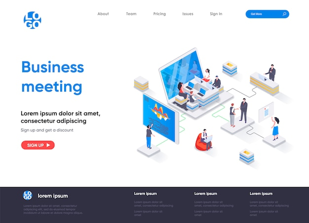 Business meeting isometric landing page template