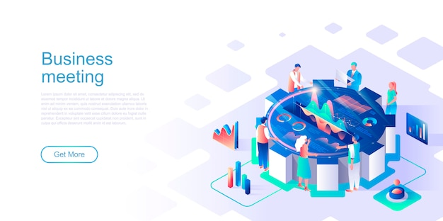 Business meeting isometric landing page vector template.