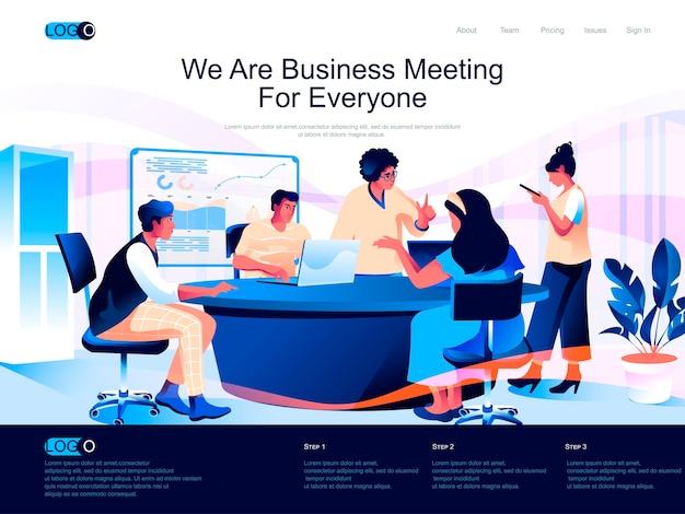 フラットな文字の状況でビジネス会議の等尺性のランディングページ