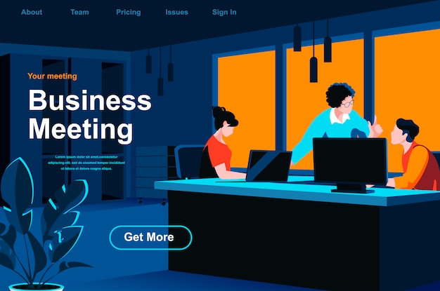 Business meeting isometric landing page.
