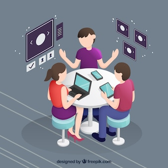 Business meeting in isometric perspective