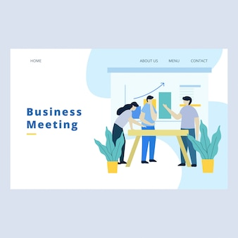 Business meeting landing page vector template