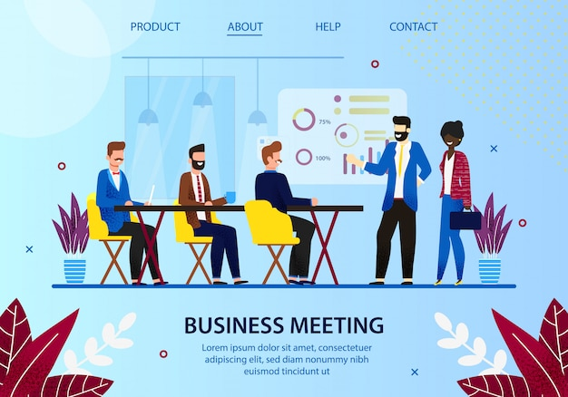 Business meeting leader with employees in office