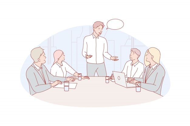 Business meeting, leadership, coworking illustration