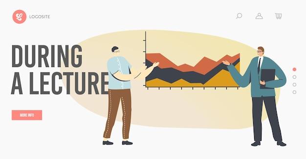 비즈니스 회의, 강의, 프로젝트 프레젠테이션 방문 페이지 템플릿. 코치는 데이터 분석 그래프와 차트로 보드에 서서 개발 전략을 설명합니다. 만화 사람들 벡터 일러스트 레이 션