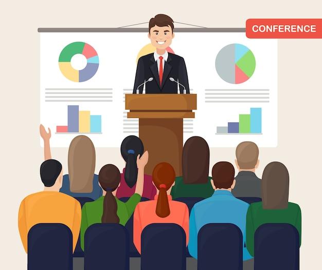 ビジネスミーティング。男は話し、プロジェクトを提示します。ワークショップ、トレーニング、セミナーに関する会議ホールの人々