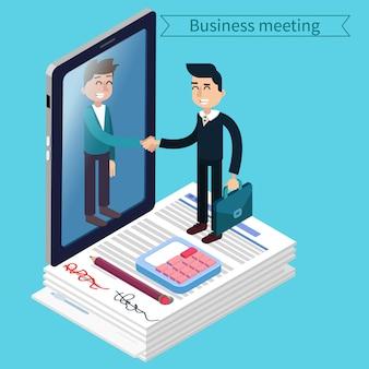 Деловая встреча. человек с чемоданом. бизнесмен. успех в бизнесе. подписание соглашения. успешные переговоры. изометрические концепция