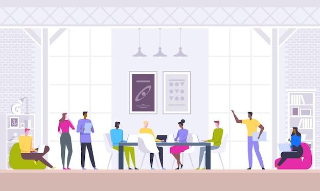 비즈니스 회의, 협상, 브레인 스토밍. 자신감 있고 성공적인 팀. 창의적인 사무실에 앉아있는 동안 비즈니스를 논의하는 현대 젊은이의 그룹입니다.