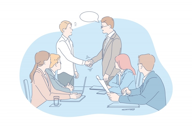Business, meeting, negotiation, team, agreement concept