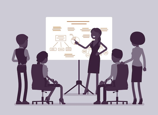 Business meeting in office. gathering of managers to think of marketing ideas, goal, company partners getting financial report, mutual discussion and training. vector illustration, faceless characters