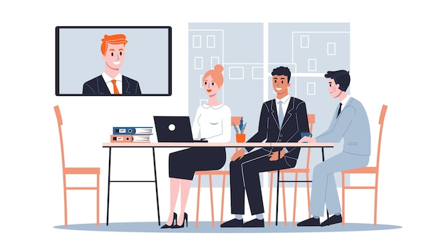 Business meeting online in the conference room concept. team on the seminar.   illustration