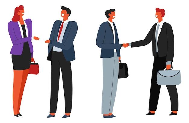 비즈니스 회의 또는 협상 사람들이 악수