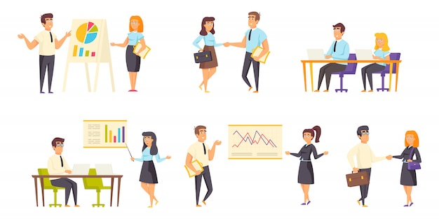 Business meeting people character flat set
