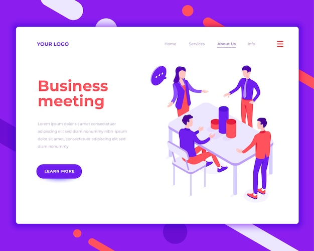 Business meeting people and interact with office